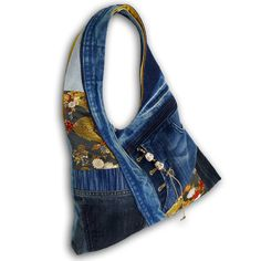 Recycled Old Jeans, Japanese Obi & Hand dyed Indigo Hobo Bag by kazuewest, $99.00