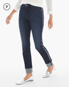 Chico's Women's So Slimming Petite Side Embellished Girlfriend Jeans, Rebel Indigo, Size: 2.5P (14P - L)