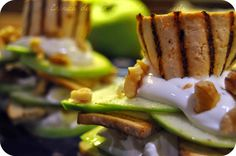 Smoked tofu, Granny Smith apple, walnuts and cream cheese mille-feuille