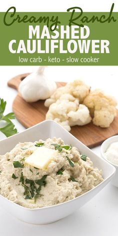 Keto Slow Cooker Mashed Cauliflower Easy mashed cauliflower recipe with sour cream and ranch seasoning. This delicious keto side dish is easy to make in your slow cooker. Get my tips for extra creamy cauliflower mash! Keto Mashed Cauliflower, Creamy Cauliflower, Cauliflower Recipes, Barbecue, Catering, Food Porn, Low Carb Vegetables, Veggies, Low Carb Side Dishes