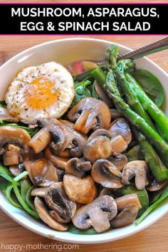 Salads that combine warm and cold ingredients make a healthy meal anytime of year. This Mushroom, Asparagus & Egg Salad is delicious, filling and easy to make. #saladrecipes #spinachsalad #vegetarian #glutenfreerecipes
