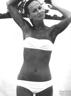 Karen Graham in a great timeless white bikini, Vogue 1970's