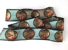 Vintage 20s Art Deco Silk Ribbon Trim Abstract Geometric