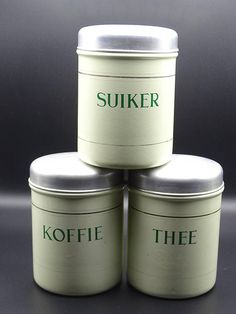 Vintage Enamel Canisters Coffee Canister Tea Canister Sugar