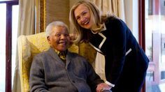 Secretary of State Hillary Rodham Clinton meets with former South Africa President Nelson Mandela, 94, at his home in Qunu, South Africa, Monday, Aug. 6, 2012.