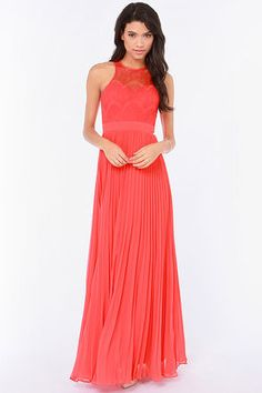 Bariano Stun In a Million Coral Red Lace Dress at Lulus.com! Great dress for dancing or anniversary !