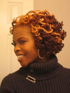 curly loc bob: Love the color