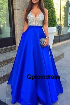 V-neck prom dress, sequins prom dress, cute sequins top blue satin long formal dress for prom 2017