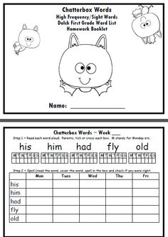 DOLCH Grade 1 Sight Words Homework Package 2: Turn these pages into a simple homework package for your students so they can learn the Dolch Grade One words at home. In this homework package students will practise reading and spelling Dolch words (I have another listed where they only read the words). There are 41 Dolch First Grade words, which equates to 8 weeks of homework.