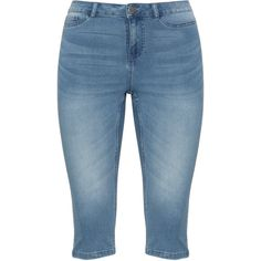 Junarose Light-Blue Plus Size Slim fit cropped jeans ($34) ❤ liked on Polyvore featuring jeans, plus size, womens plus size capris, cropped jeans, light blue capris, slim jeans and slim straight leg jeans