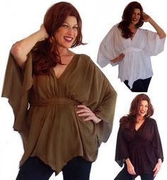 I707 Poncho Blouse Top Wide Sleeve by LotusTradersClothing on Etsy