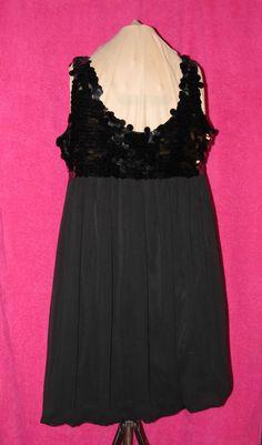 Sz 10P R&M Richards Evening Mini Dress Black Large Pialletes Bodice Sleeveless #RMRichards #EmpireWaist #LittleBlackDress
