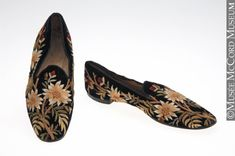 Slippers The McCord Museum Loafer Slippers, Velvet Slippers, Loafers, Edwardian Fashion, Vintage Fashion, Body Adornment, Vintage Boots, Lounge Wear, Vintage Dresses