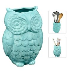 I need this in my kitchen! I love turquoise! owl tool holder for kitchen, kitchen tools, thrifty kitchen tools, thrifty kitchen, owl, owl decor
