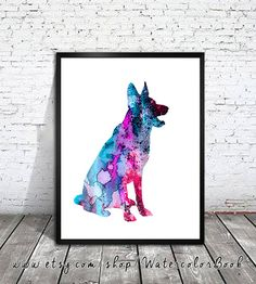 Blue German Shepherd dog Watercolor Print by WatercolorBook
