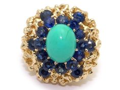 Main Stones :Oval Cabochon Shaped Turquoise. Color : Turquoise. Metal :14k Yellow Gold. 3.5mm wide back of shank (most narrow area of band). 14.5mm high ( finger to top of ring). Jewelry Type :Gemstone Ring. | eBay!