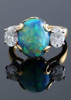 Cabochon Black Opal and Diamond Ring Antique & Vintage Jewelry at www.rubylane.com #rubylane @rubylanecom
