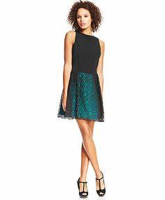 kensie Dot-Lace Dress