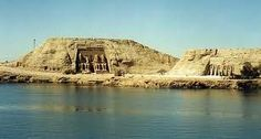 Abu Simbel, Lake Nasser, Egypt.  The view as you approach it across the lake.