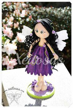 Fofucha Hada de las Flores con vestido violeta Diseño de süÿës y elaborado por Xeitosas.  www.xeitosas.com