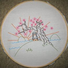 Penguin embroidery hoop