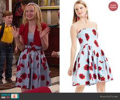 Liv's blue floral dress and yellow wedges on Liv and Maddie.  Outfit Details: http://wornontv.net/47844/ #LivandMaddie