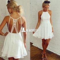 De las nuevas mujeres ocasionales atractivas del tirante de espagueti sin respaldo abatible FLOJO CLUB vestido blanco mini vestido corto