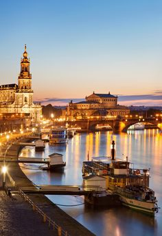 Dresden and Elbe River at dusk ~ Germany