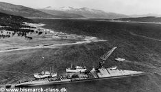 Tirpitz - Håkøy, near Tromsø, Norway - A photo of the wreck of Tirpitz taken after the war. The scrapping of the wreck is in process.