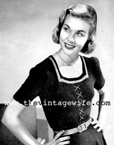 Free Pattern 1940's Knitting - Women's Square necked Jumper