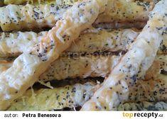 Slané tyčky sýrové recept - TopRecepty.cz Sandwich Recipes, Sandwiches, Good Food, Chicken, Meat, Baking, Eten, Bakken, Bread