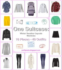 @dani, this is what we need for Alaska!! i guess i have to go shopping   Pack light!  Winter vacation wardrobe - 16 pieces - 40 outfits