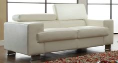 He-9603Wht-2 Vernon Collection Love Seat, Wht All Bnd Lthr