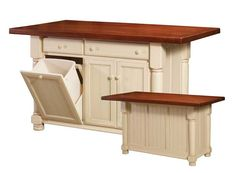 All of our kitchen islands can be purchased in the size, material, and color that best suits your decor. The tops of our kitchen center islands can be purchased in materials such as granite, mica, tile, or butcher block. We will also provide matching wood  or metal bar stools complete your order. Design the right island for you personal kitchen with us!
