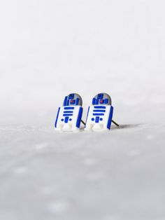 R2D2 Star Wars Miniature Stud Earrings Polymer Clay by FatPea