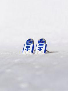 R2D2 Star Wars Miniature Stud Earrings Polymer Clay by FatPea