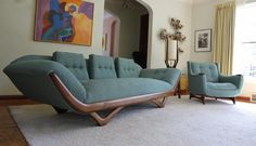New Upholstery Mid Century Adrian Pearsall Sofa and Lounge Chair | eBay