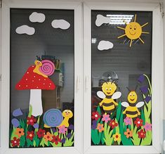 - Spring Crafts For Kids Preschool Decor, Daycare Crafts, Kids Crafts, Diy And Crafts, Classroom Window Decorations, School Decorations, Decoration Creche, Class Decoration, Spring Crafts For Kids