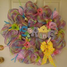 Easter Spring 27 inch Deco Mesh Wreath Multi Color #handmade