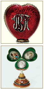 The Heart Surprise Frame: Not an egg, but made by Faberge. Given by Czar Nicholas to his mother at Easter 1897. It pops open to reveal a green enamel clover with three leaves. Each leaf holds a picture. One is of Czar Nicholas, one of Alexandra and the third is of the infant Grand Duchess Olga, their first child.