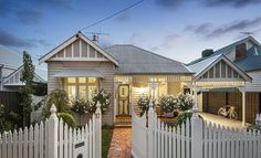 Also looks achievable : Darren & Deanne Jolly's Edwardian house. 17 Empress Road, Surrey Hills, Vic Stone and white colour scheme Exterior Color Schemes, Exterior Paint, Exterior Design, Colour Schemes, Brick Paving, Brick Path, Up House, House Front, Style At Home