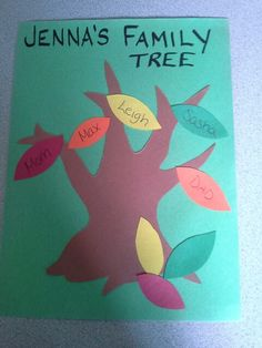 Preschool family tree craft. I would also do hand prints and finger paint the tree. And then put the leaves with the names on it.