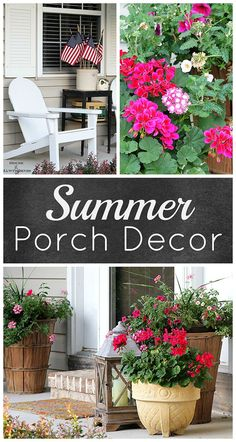 Outdoor Decorating/Gardening : Summer porch decorating ideas and inspiration using farmhouse touches, vintage items, plenty of annual flowers and a healthy dose of patriotic decor. Porch Decorating, Decorating Ideas, Summer Decorating, Decor Ideas, Interior Decorating, Outdoor Projects, Outdoor Decor, Outdoor Living, Outdoor Spaces