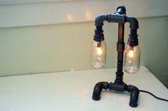 Repurposed steampunk desk lamp. Pipe lamp. Industrial lighting. Upcycled lighting. on Etsy, $190.00