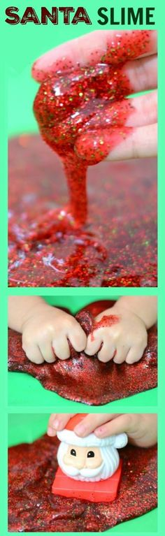 Christmas Crafts – SANTA SLIME- so fun for kids & smells just like Christmas! Noel Christmas, Christmas Crafts For Kids, Christmas Themes, Holiday Crafts, Holiday Fun, Christmas Gifts, Christmas Decorations, Christmas 2019, Kids Christmas Activities