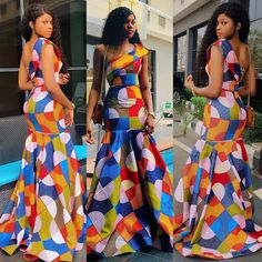 ankara mode This dress is available in several other prints. It's available in US 4 - 22 Buyers can also send in their exact measurements . Long African Dresses, Ankara Long Gown Styles, Trendy Ankara Styles, Latest African Fashion Dresses, African Inspired Fashion, African Wedding Dress, African Print Fashion, Kente Styles, Ankara Gowns