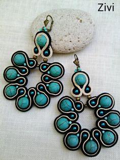 Pendientes con turquesas  Pendientes flamenca