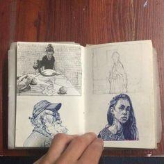 Beautiful sketchbook drawings! #WilliamHannahUK #sketchbook #drawn #drawing #illustration #portraits #sketch #artist #art #notebook #drawingaday www.williamhannah.com