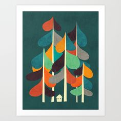 Buy Cabin in the woods Art Print by Budi Kwan. Worldwide shipping available at Society6.com. Just one of millions of high quality products available.