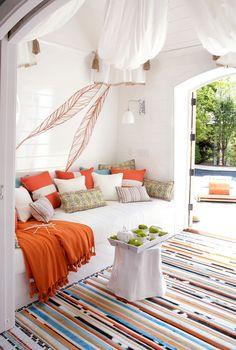 Orange & Turquoise pool house by Kimberly Hall Creative